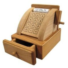 Old Fashioned Wooden Toy Cash Register. Made in Germany.