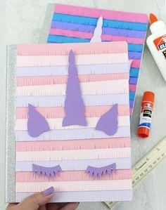 DIY Unicorn Notebooks. Pinata style! So CUTE. Free printable.