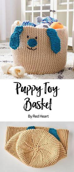 Puppy Toy Basket free crochet pattern in Super Saver Chunky yarn. Puppy's favorite toys and chewables can be organized in this handsome basket. We've designed it with a double strand of yarn for sturdiness. The face is embroidered with ears and nose knit separately and sewn in place.