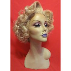 Sandra Dee Wig Custom Lace Front Professional Costume Wig Drag Queen... ($75) ❤ liked on Polyvore featuring costumes, bath & beauty, gold, hair care, wigs, wig costumes, queen costume and queen halloween costumes