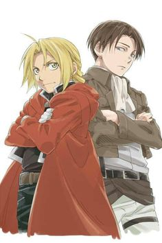 Levi (Attack on Titan) and Edward Elric (Fullmetal Alchemist). Imagine the short jokes. Imagine the sass. Imagine the fights.