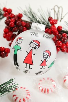 Personalized Family Christmas Ornament Up To  Family Members Santa Hats