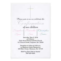 Confirmation Pink Blue Triplets Invitation Custom Office Party Invitations #office #partyplanning