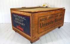 Vintage Uneeda Biscuit Wooden Crate Storage Box On Wheels - Industrial…