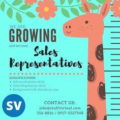 #StaffVirtual is #NowHiring #salesrepresentative Jobs@staffvirtual.com