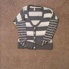 Cute striped cardigan Grey and white striped cardigan. Worn twice, still in great shape! Aeropostale Sweaters Cardigans