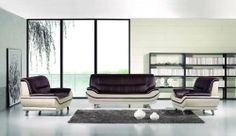 """New 3pc Contemporary Modern Leather Sofa Set #AM-709-B-BURGUNDY/L.GRAY by UTM. $1899.00. UTM 3 pcs contemporary modern leather sofa set will include ONE sofa + ONE love + ONE CHAIR. * All corners are """" blocked"""", nailed and glued for strength and durability. * It is made of 100% selected premium soft bonded leather. * All of the seats and backs are high density (1.9) foam to give comfort and support. * Solid wood frame use in the sofa construction. Available Colors See abo..."""