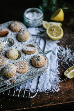 Lemon, Rosemary & Olive Oil Madeleines – Daisy and the Fox Baking Cupcakes, Cupcake Recipes, Cookie Recipes, Just Desserts, Delicious Desserts, Yummy Food, Madeleine Recipe, Madeleine Cake, Galletas Cookies