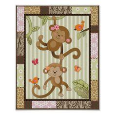 Jungle Jill Monkeys Baby Girl Nursery Art Posters