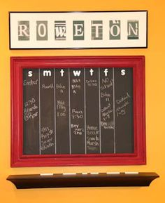 Family Chalkboard calendar using old frame, chalkboard paint and wooden letters.