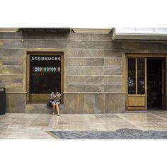 The girl waiting outside the Starbucks #streetphotography #photooftheday #Murcia #spain #people #urban #city