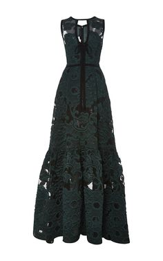 Fil Coupe Jacquard V Neck Gown by ELIE SAAB for Preorder on Moda Operandi