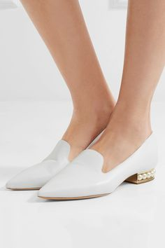 Heel measures approximately 25mm/ 1 inch White leather Slip on Made in Italy