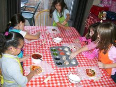 Chef Birthday Party.  Make your own pizza.  Decorate your own cupcake.