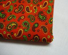 Fabric by the Yard Vintage Cotton Kawaii 1970 Retro Flower Power Hippie Bright Paisley