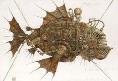 Steampunk Tendencies | Mech of Lev Kaplan #Painting #Art #Mechanical