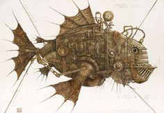 Steampunk Tendencies | Mech of Lev Kaplan #Painting #Art #Mechanical