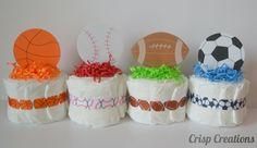 Sports mini diaper cakes-Baby boy mini diaper cakes-Baby boy shower gifts/decor on Etsy, $8.00