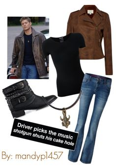 Just made this outfit on Polyvore, female version of Dean Winchester.