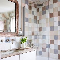 Feature tiling | Small bathroom design ideas | Bathroom | PHOTO GALLERY | Country Homes and Interiors | Housetohome.co.uk