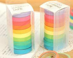 Masking Tape Set - Japanese Washi Tape - Washitape - Rainbow Decp Tape - Washi Paper - Masking Sticker - 10 Rolls in