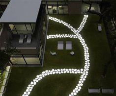 Lighted backyard walking path