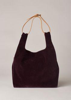 Shopping bag pattern and use a narrow belt for shoulder strap. Maison Margiela Velvet Tote (Bordeaux)
