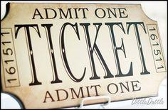 Ballard Knock-Off Vintage Ticket Plaque . Movie Theater Rooms, Theatre Rooms, Admit One Ticket, Knock Off Decor, Teen Lounge, Ballard Designs, Diy Signs, Vinyl Lettering, Vintage Signs