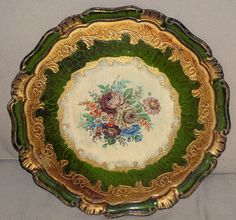 """Vintage Florentine Toleware 15"""" gilded gold green round wood Italian tole tray"""