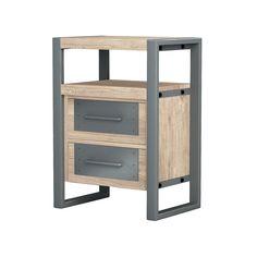 Buy Asta Industrial Modern Teak & Iron Side Cabinet at online store Metal Drawers, Large Drawers, Concrete Wood, Steel Furniture, Drawer Fronts, Modern Industrial, Storage Spaces, Home Furnishings, Teak