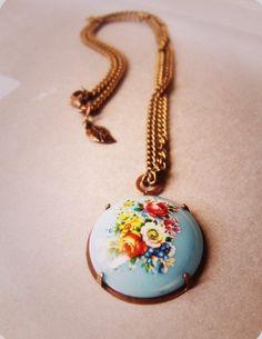 Boho  inspired floral necklace.