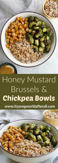 Recipes Meal Prep Honey Mustard Brussels Sprouts and Chickpea Bowls - vegetarian meal prep bowls made with roasted brussels and chickpeas, farro, and a simple honey mustard dressing. An easy and packable lunch recipe that can be enjoyed hot or cold! Vegetarian Meal Prep, Tasty Vegetarian Recipes, Lunch Meal Prep, Meal Prep Bowls, Veggie Recipes, Lunch Recipes, Whole Food Recipes, Cooking Recipes, Healthy Recipes