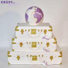 Malas - Casamento   Esculpido   bolo casamento decorado   Grãos de Açúcar - Bolos decorados - Cake Design
