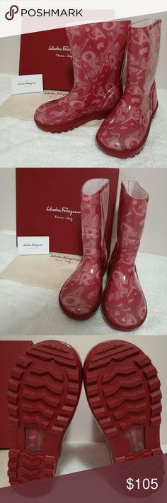 NIB Salvatore Ferragamo red rain boots EU 32/US 1 Brand new in box, Salvatore Ferragamo red rain boots shoes with monogram print, Made in Italy Salvatore Ferragamo Shoes Rain & Snow Boots