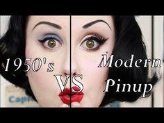 In this video I'm comparing a traditional makeup look of the to a modern pinup look, by doing each half of m. Pinup Girl Makeup, 1950 Makeup, Rockabilly Makeup, Pin Up Makeup, Retro Makeup, Cat Eye Makeup, Sexy Makeup, Fairy Makeup, Vintage Makeup