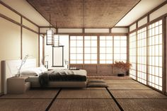 Interior luxury modern japanese style bedroom mock up Japanese Inspired Bedroom, Japanese Style Bedroom, Japanese Style House, Asian Style Bedrooms, Modern Japanese Interior, Japanese Interior Design, Japanese Home Decor, Japanese Decoration, Zen Bedroom Decor