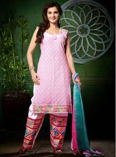 Stunning Pink Embroidered Patiala Suit