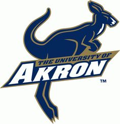 Akron Zips Primary Logo (2002) - Blue and Gold Kanagaroo with University Name