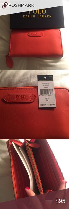 NWT Polo Ralph Lauren Wallet From the Spring '15 collection. Leather wallet with a ton of card slots, a change section, and a place for cash. New with tags in Box. Would make an excellent gift! Nice orange color. Polo by Ralph Lauren Bags Wallets