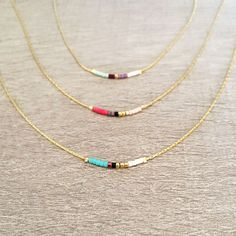 Minimalist Delicate Short Necklace with Tiny Beads // Thin Layering Necklace // Colorful & Simple Boho Necklace by Kurafuchi on Etsy https://www.etsy.com/listing/240230866/minimalist-delicate-short-necklace-with