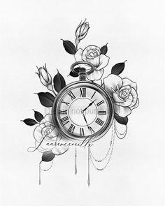 Pocket Watch Tattoos, Pocket Watch Drawing, Pocket Watch Tattoo Design, Rose Flower Tattoos, Flower Tattoo Designs, Rosen Tattoo Klein, Clock And Rose Tattoo, Vintage Clock Tattoos, Band Tattoos