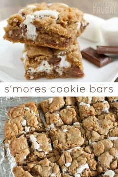 Delicious s'mores cookie bars recipe with all of our favorite s'mores flavors - graham cracker, chocolate, and marshmallow!