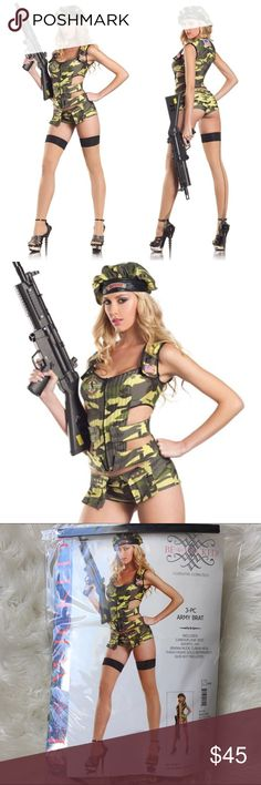 Sexy Army Brat Costume Worn only one time, for a photo shoot. Sexy green camo army brat costume. This set includes the vest/top, booty shorts, and hat. (Gun and stockings not included.) Size S/M. Perfect for Halloween or making your man drop & give you 20!  Be Wicked Other