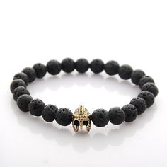 Warrior Gladiator Helmet Tiger Eye Matt Lava Stone Buddha Beads Bracelet Elastic Rope Chain Men Pulseras