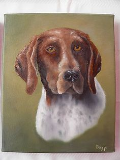 """ORIGINAL M. BRIGGS GERMAN SHORT HAIRED POINTER DOG OIL PAINTING 8X10"""" CANVAS"""