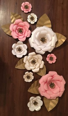 Large Paper Flower Backdrop Set of 10 Custom by TeaTimeCrafty