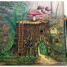 use from - Uhuuuuuuuu terminei.rs Floresta Encantada - Johanna Basford - Editora Sextante Materiais - Lápis de cor Polycolor e canetas gel. Enchanted Forest Book, Enchanted Forest Coloring Book, Fantasy Magic, Fantasy Art, Coloring Book Art, Coloring Pages, Colouring, Adult Coloring, Johanna Basford Coloring Book