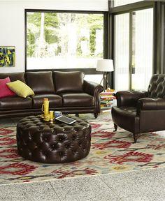 Kaden Leather Roll Arm Sofa Only At Macys