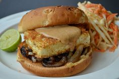 Tofu Burgers with Caramelized Onions and Peanut Sauce #vegan