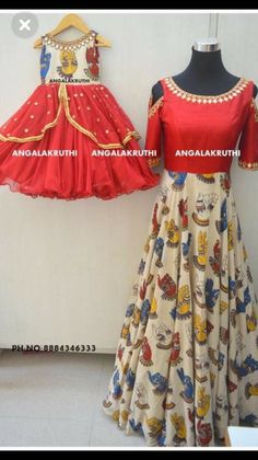 Red Kalamkari Dress Combination For Mom and Baby Girl